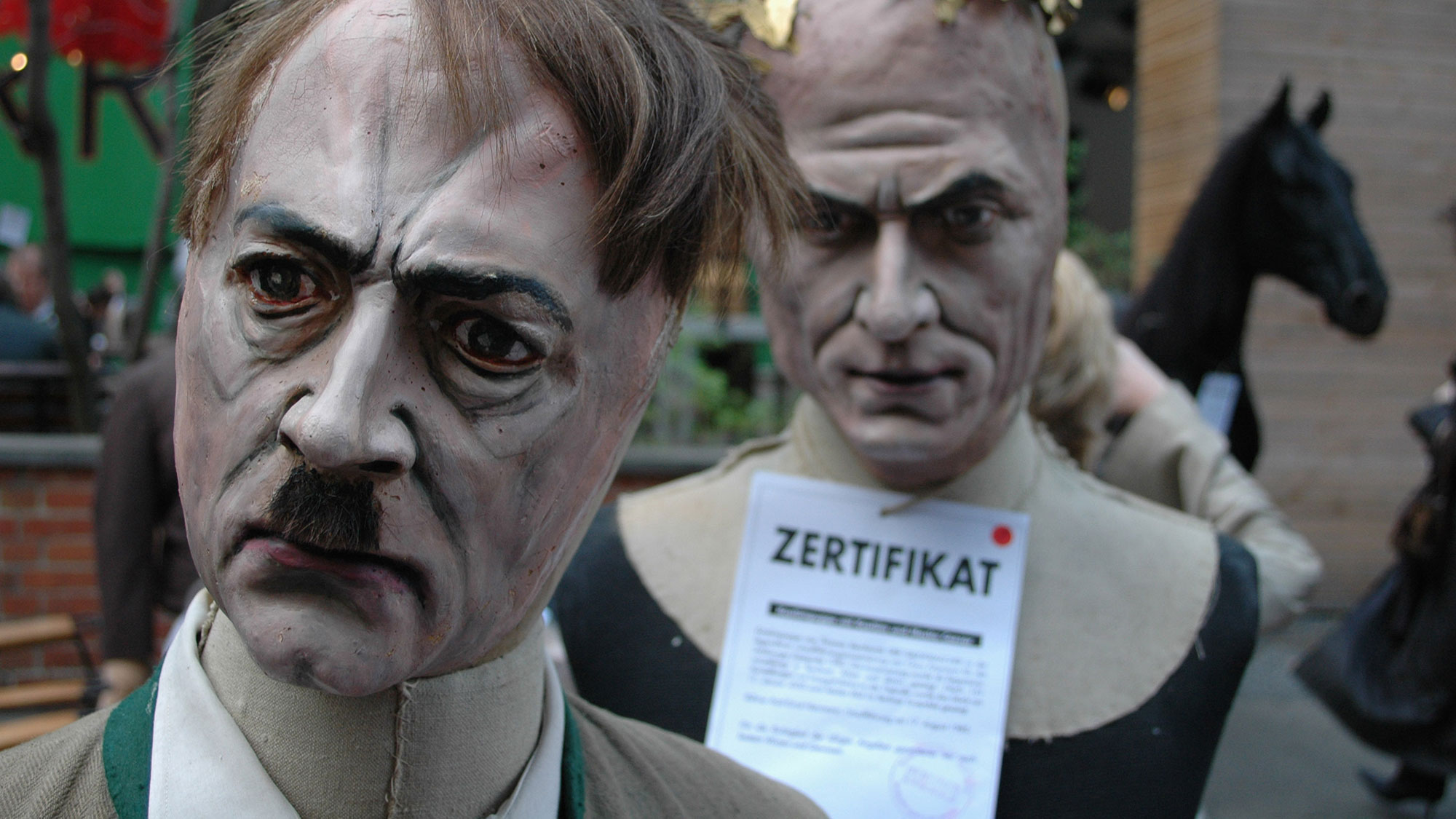 A puppet showing German Nazi dictator Adolf Hitler.