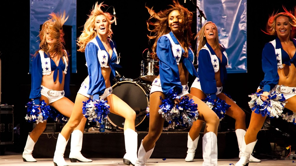 Dallas Cowboys Cheerleaders performing a routine.