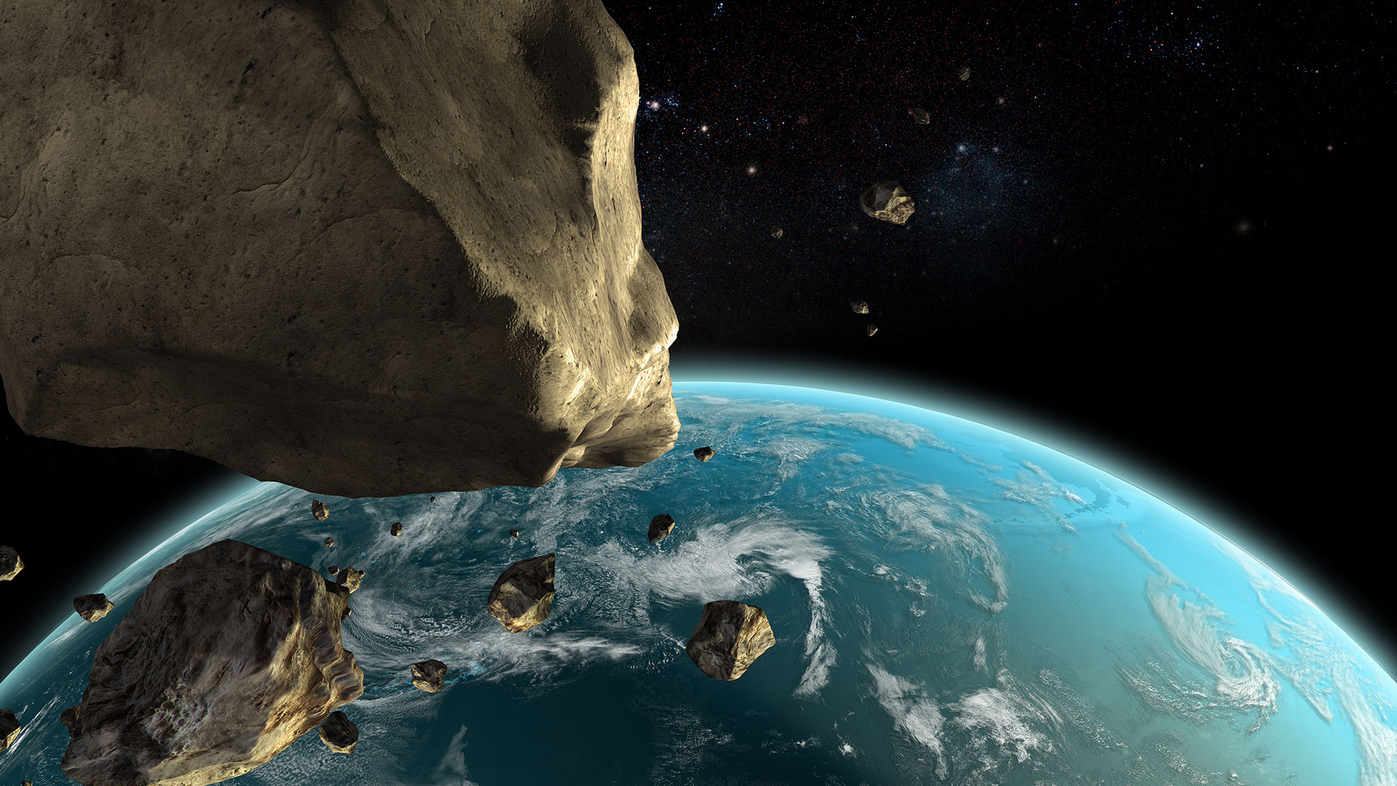 An asteroid closing in on Earth.