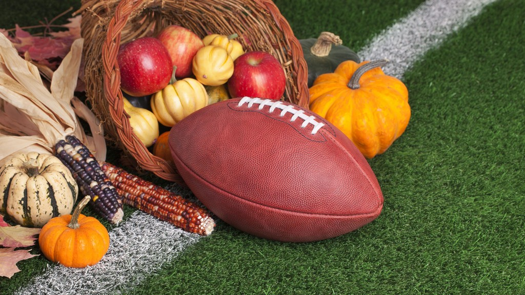 Thanksgiving decorations and a football.