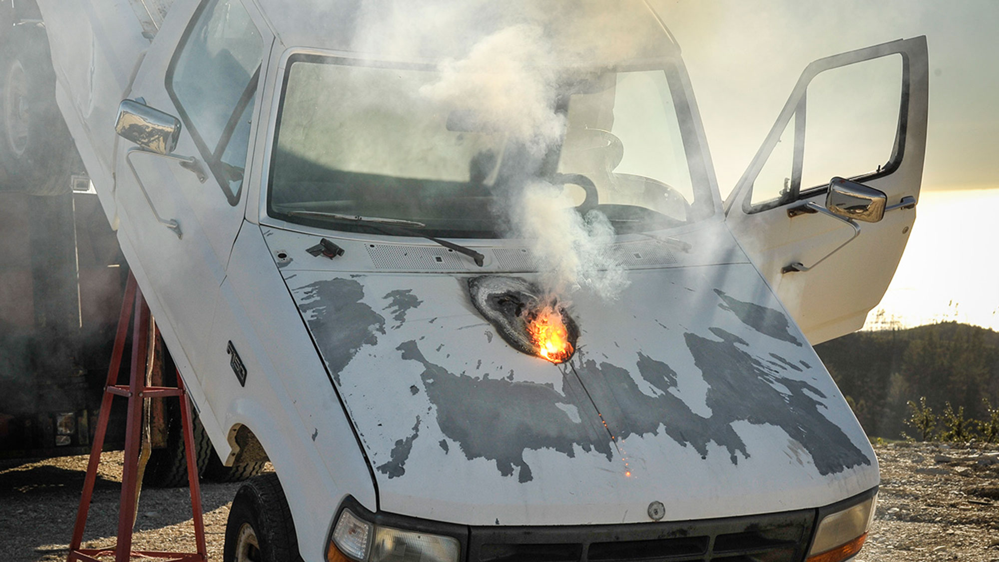 Truck destroyed by Lockheed Martin ATHENA laser.