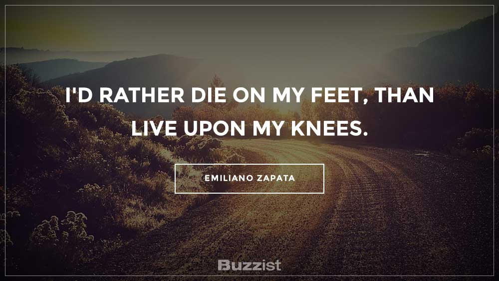 Emiliano Zapata quote presented on a picture.