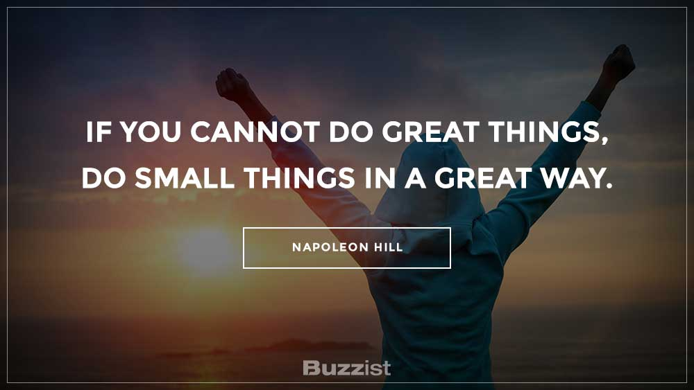 Napoleon Hill quote presented on a picture.