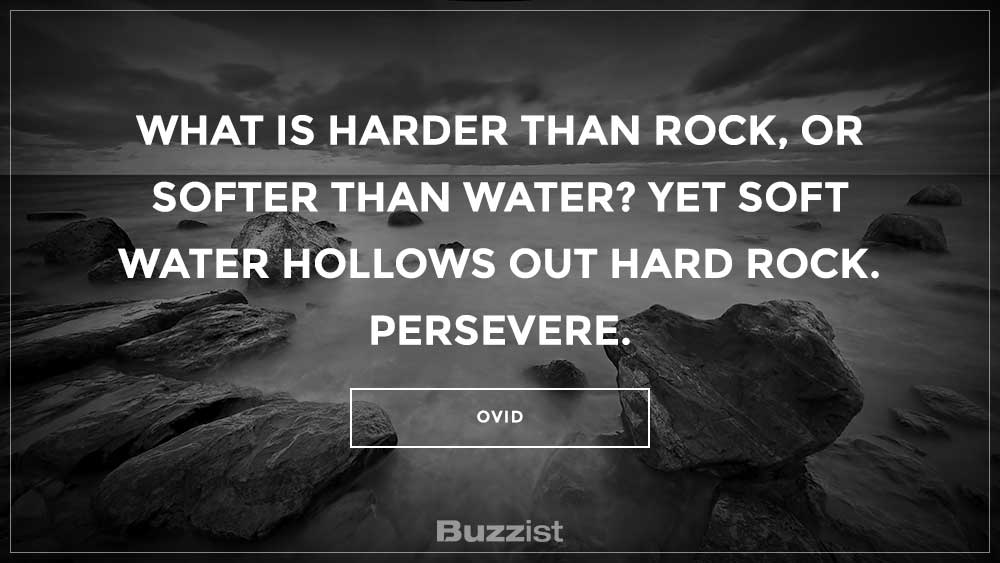 What is harder than rock, or softer than water? Yet soft water hollows out hard rock. Persevere.