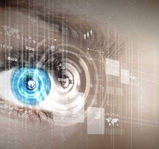 Eye viewing digital information from the future.